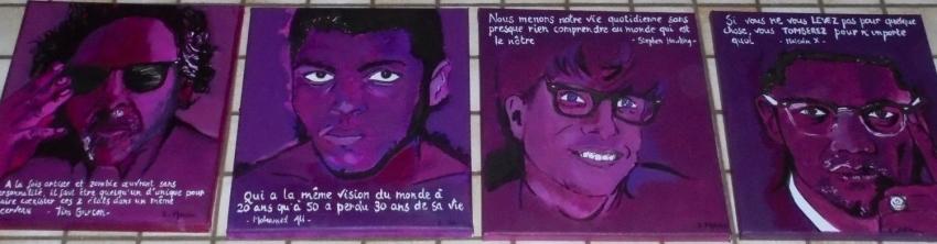 Tim Burton, Muhammad Ali, Malcolm X, Stephen King by patrick